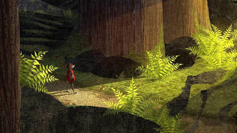 Concept art, Kubo walking alone in a forest to the cemetery